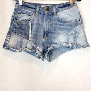 Zara Denim Patchwork High Rise Jean Shorts 00